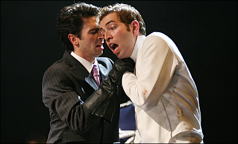 Ryan Gage as Osric and Edward Bennettt as Laertes