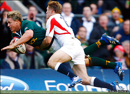 Lewsey produces his try-saving tackle on South Africa centre Jean De Villiers in the 23-21 win at Twickenham
