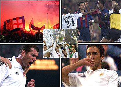 Top left: A lively Camp Nou crowd; bottom left: Zinedine Zidane celebrates scoring; top right: a fight breaks out; bottom right: Raul celebrates his goal