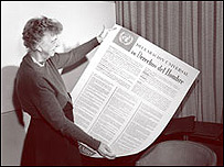 Eleanor Roosevelt, presidió el comité que aprobó la Declaración en 1948