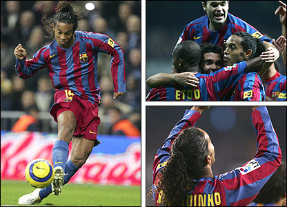 Left: Ronaldinho scores in the Bernabeu; top right: Barca celebrate a famous win; bottom right: Ronaldinho looks up to the sky
