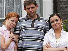Bianca (Patsy Palmer) Tony (Chris Coghill) and Whitney (Shona McGarty)