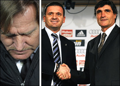 Left: Bernd Schuster; Right: Sporting director Predrag Mijatovic (left) welcomes Juande Ramos to Real Madrid