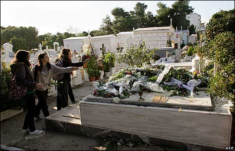 Mourners lay flowers on the grave of 15-year-old Alexandros Grigoropoulos on 10 December