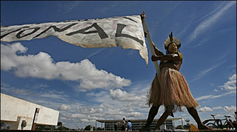An Indian of the Amazonian Koruba tribe protests in Brasilia on 10 December