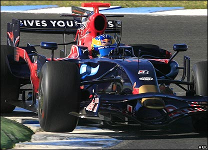Sebastien Bourdais in the Toro Rosso at F1 testing in Jerez