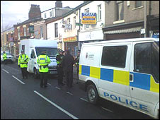 The scene of the shooting in Blackburn