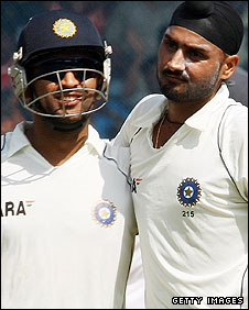 Mahendra Dhoni and Harbhajan Singh
