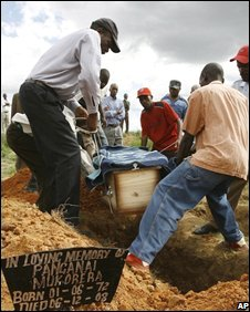 Zimbabwean family bury their relative Betty Bvute who died of cholera near Harare on 8 December 2008