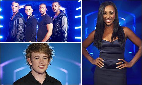JLS, Alexandra Burke, Eoghan Quigg (pic: ITV)
