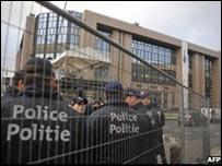 Seguridad en el edificio del Consejo Europeo, Bruselas.