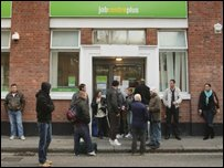waiting outside a Job Centre Plus branch