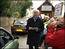 MP Martin Slater hands out leaflets to drivers