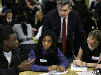 Gordon Brown with former EastEnders actress Brooke Kinsella