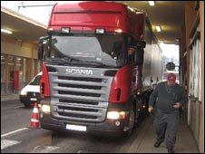 Lorry being checked