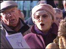 Protesters sang hymns outside the Senedd building