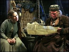 Phil Davis as Smallweed in the BBC adaptation of Bleak House discovers the original Will of John Jarndyce