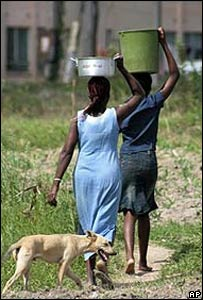 Mujeres cargando agua.
