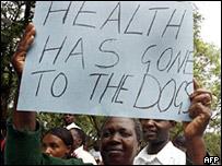 Personal sanitario en huelga.
