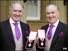 The Barclay brothers after receiving their knighthoods in 2000