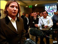Tzipi Livni speaking to journalists