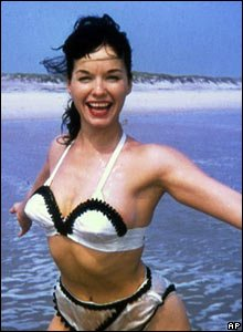 Bettie Page posing in a bikini during the 1950s