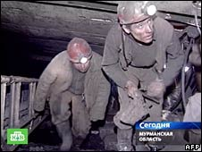 Russian rescuers inside the mine