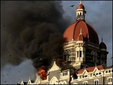 Smoke gushes out of the Taj Mahal Hotel in Mumbai on 27 November