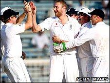 Freddie Flintoff celebrates a wicket