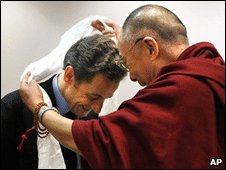 Nicolas Sarkozy, left, meets the Dalai Lama in Gdansk, Poland, 6 December 2008