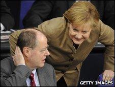 Peer Steinbrueck and Angela Merkel