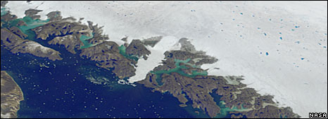 Computer rendering of Jakobshavn Glacier from satellite imagery (Nasa)