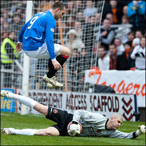 Rangers' Kris Boyd is halted by Lukasz Zaluska (right) as the keeper collects the ball at the strikers feet