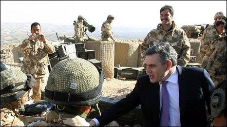 Gordon Brown meets troops in Afghanistan
