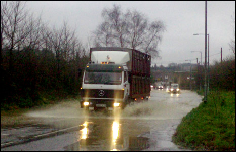 A lorry going through water [Pic: David Peadon]