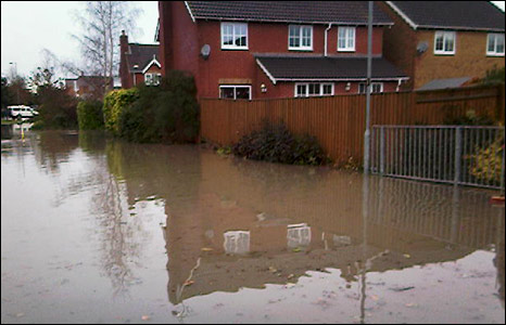 Flooding in Tatworth, South Chard, Somerset