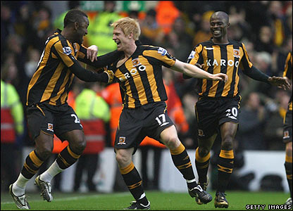 Hull's Paul McShane celebrates