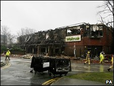 The burnt out shell of the Waitrose store