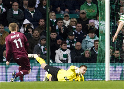 Andrew Driver fires the ball home to give Hearts an early advantage over Celtic