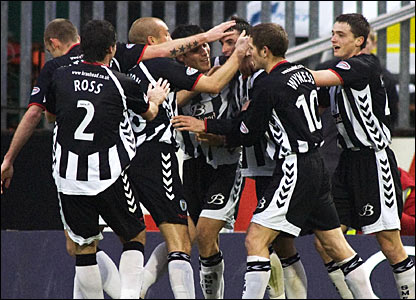Andy Dorman (4th left) celebrates his goal for St Mirren with his team-mates