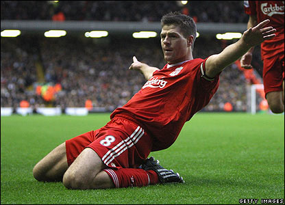Gerrard celebrates his second goal for Liverpool