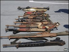 The Indian navy released a photo of weapons it said it seized from pirates it arrested in the Gulf of Aden