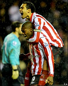 Djibril Cisse and Kieran Richardson