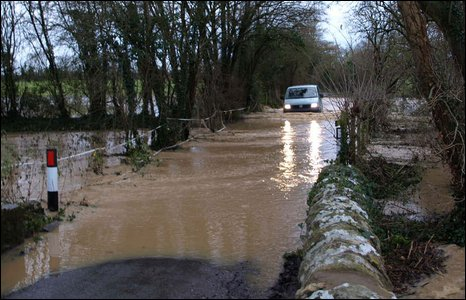 A flooded road [Pic: Adrian Davenport]