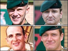 Clockwise from top left L/Cpl Steven Fellows, Sgt John Manuel, Cpl Marc Birch and Marine Damian Davies