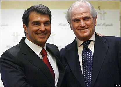 Barcelona president Joan Laporta and his Real Madrid equivalent Ramon Calderon