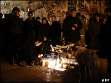 Vigil held at the site where Alexandros Grigoropoulos was shot dead (13 December 2008)