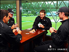 New Zealand's players try a game of cards