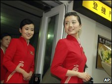 Flight attendants from Shenzhen at Taipei airport