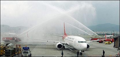 El primer vuelo directo arriba a Taiwán desde China el 15 de diciembre